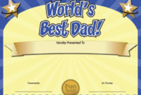 World'S Best Dad Father'S Day Certificate Free! – Funny inside Best Dad Certificate Template