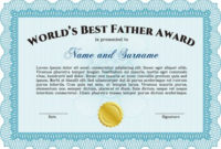 World'S Best Father Certificate Award Template (Sky Blue for Best Dad Certificate Template