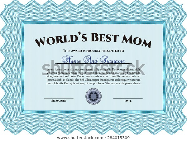 Worlds Best Mom Award Template Stock Vector (Royalty Free Throughout Best 9 Worlds Best Mom Certificate Templates Free