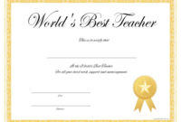 World'S Best Teacher Certificate – Free Printable throughout Unique Best Teacher Certificate