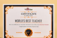 Worlds Best Teacher Certificate intended for Best Teacher Certificate