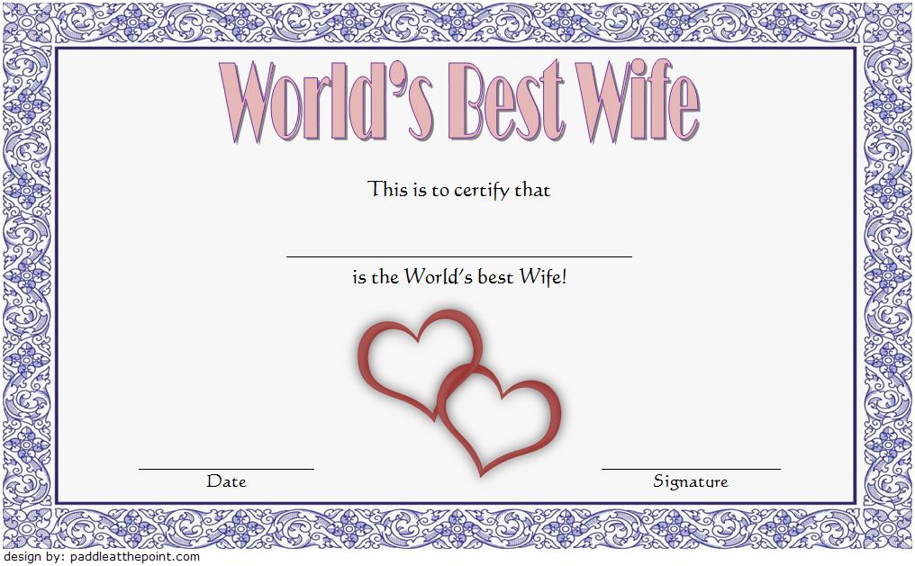 World'S Best Wife Certificate Template Free 4 In 2020 with Best Best Wife Certificate Template