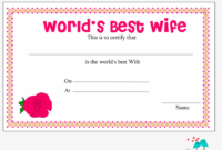 World'S Best Wife Certificate With Red Rose – World'S Best with Best Wife Certificate Template