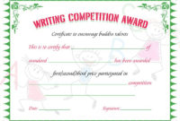 Writing Competition Award Certificate | Writing Competition pertaining to Writing Competition Certificate Templates
