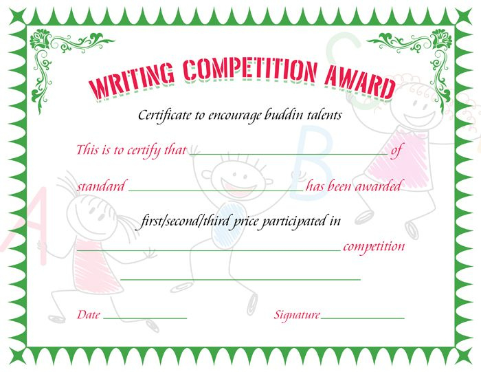 Writing Competition Award Certificate | Writing Competition Regarding Essay Writing Competition Certificate 9 Designs