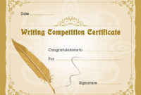Writing Competition Award Certificate | Writing Competition with Fresh Writing Competition Certificate Templates