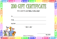 Zoo Gift Certificate Template Free (2Nd Design) In 2020 intended for Zoo Gift Certificate Templates Free Download
