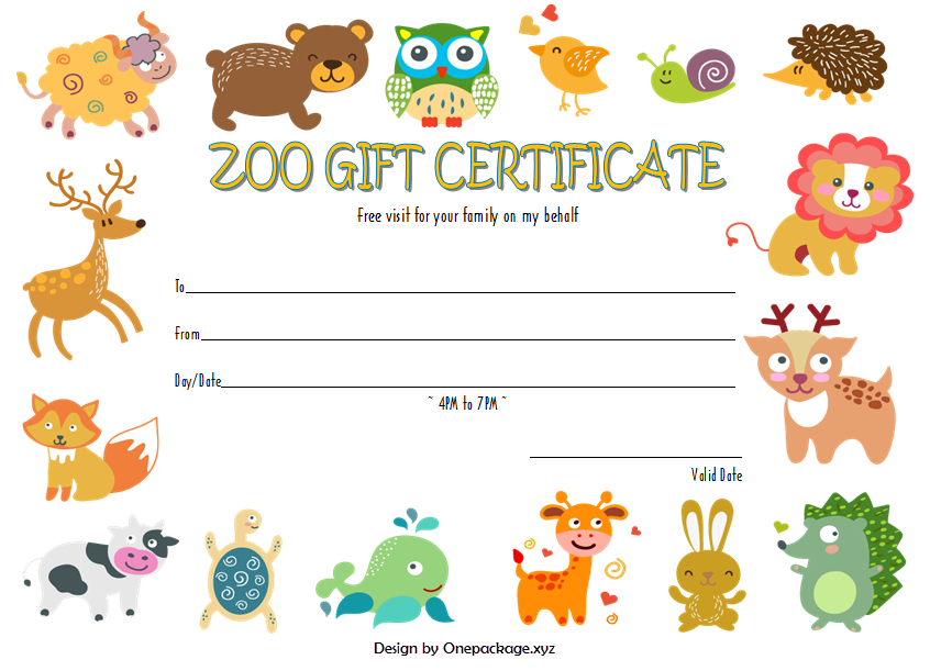 Zoo Gift Certificate Template Free (3Rd Design) In 2020 Inside Zoo Gift Certificate Templates Free Download
